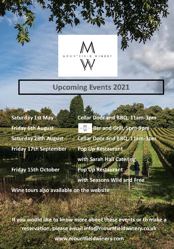 Upcoming 2021 events at the Mountfield Winery